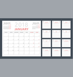 calendar planner for 2018 starts monday vector image