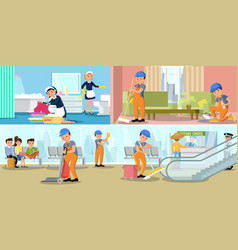 cleaning company service horizontal banners vector image vector image