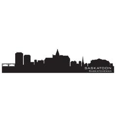 Saskatoon Canada skyline Detailed silhouette vector image