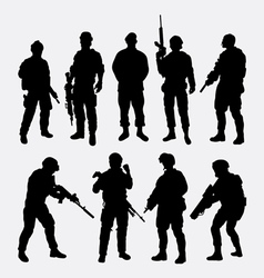 Soldier military with weapon pose silhouette vector