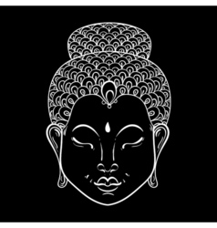 White portrait of buddha for ornamental adult vector