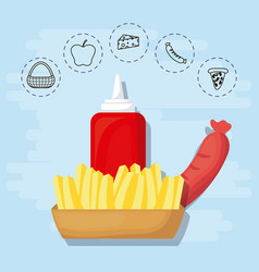 french fries and sausage for family summer picnic vector image