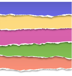 Oblong layers of torn color paper vector