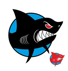 Shark logo Angry shark in circle logo for sports vector image