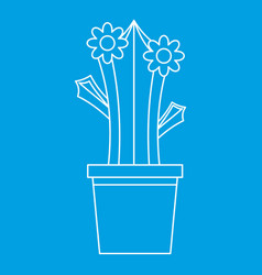 blooming cactus in pot icon outline style vector image