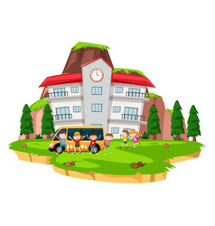 children playing at school lawn vector image