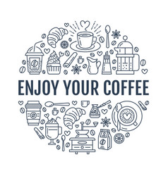 coffee making poster template brewing line vector image