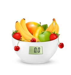 Fruit with in a digital weight scale Diet concept vector image vector image