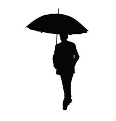 man with umbrella black silhouette vector image