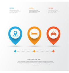 traveling icons set collection of location car vector image
