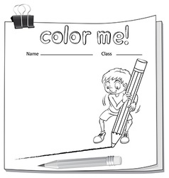 Worksheet showing a boy drawing a line vector image vector image
