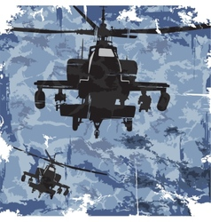 Army grunge background with helicopter vector image vector image