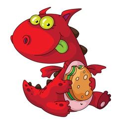 dragon eating vector image vector image