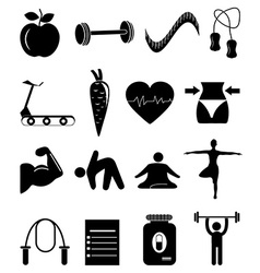 Health fitness icons set vector image vector image