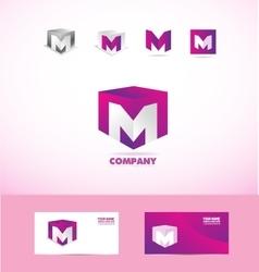Letter M cube logo icon set vector image