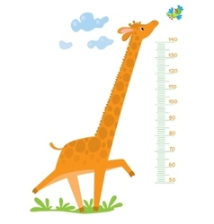 Meter wall with giraffe and bird vector image vector image