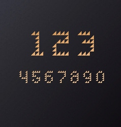 Retro Geometric Triangle Font Numbers vector image
