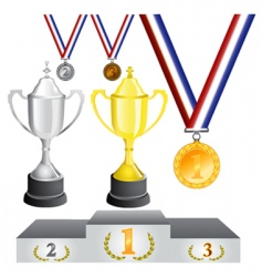 reward medal and cup vector image