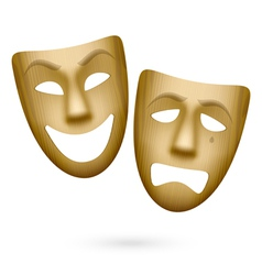 Wooden comedy and tragedy theatrical masks vector image vector image