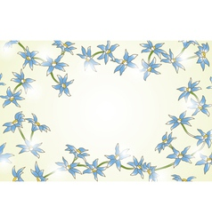 Yellow background with blue flowers vector image vector image