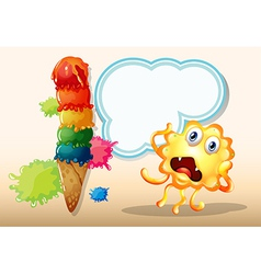 A giant icecream beside the monster in front of vector image