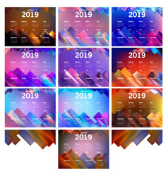 abstract geometric of calendar 2019 vector image