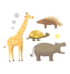 african animals cartoon set safari vector image