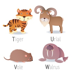 Alphabet with animals from T to W Set 2 vector image