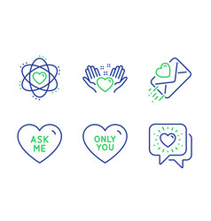 Ask me love letter and hold heart icons set atom vector