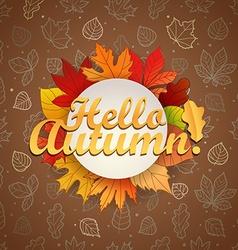 Autumn greeting card template hello concept vector