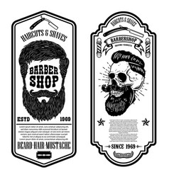 barber shop flyer template barbers skull and vector image