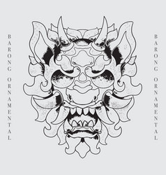 Barong head balinese culture line art vector