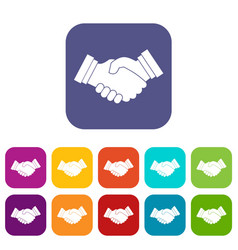 Business handshake icons set vector