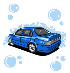 Car toyota corrola with wash background water vector