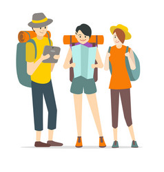 cartoon characters young people travel set vector image