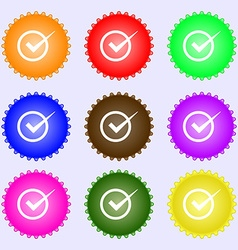 Check mark sign icon Checkbox button A set of nine vector