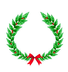 christmas wreath realistic sign vector image