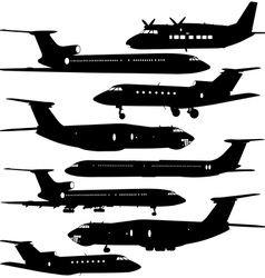 Collection different aircraft silhouettes vector