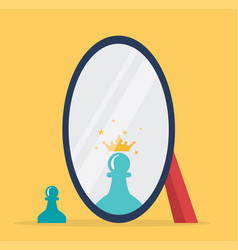 concept chess reflection in a mirror vector image
