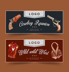 Cowboy banner design with revolver outfit vector