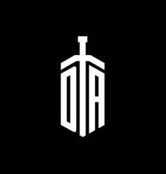 da logo monogram with sword element ribbon design vector image