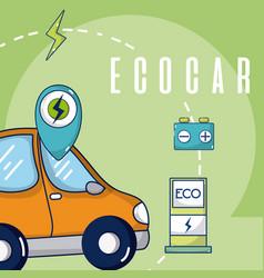 ecocar green energy vector image