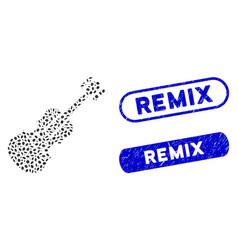 Ellipse mosaic violin with textured remix seals vector