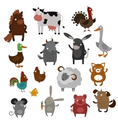Farm animals pets cartoon vector