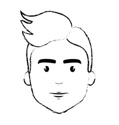 Figure nice fece man with hairstyle vector