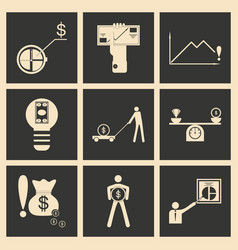 Flat in black and white concept economic icon vector