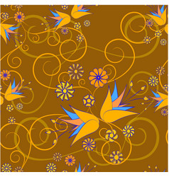 floral abstract ornament on a brown background vector image