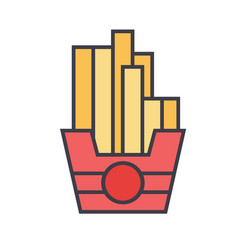 French fries concept line icon editable vector