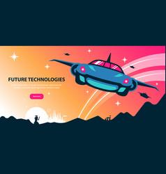 Future technologies horizontal poster vector