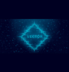 Futuristic cyberpunk glitch rhombus blue glowing vector